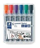 STAEDTLER Lumocolor 356 B WP6 Flipchart-Marker, Keilspitze ca. 2 oder 5 mm Linienbreite, Set mit 6 Farben, ideal für Flipchart-Blöcke, farbintensiv, geruchsarm, hohe...