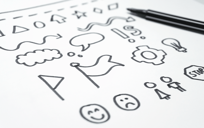 Sketchnoting Grafiken und Symbole