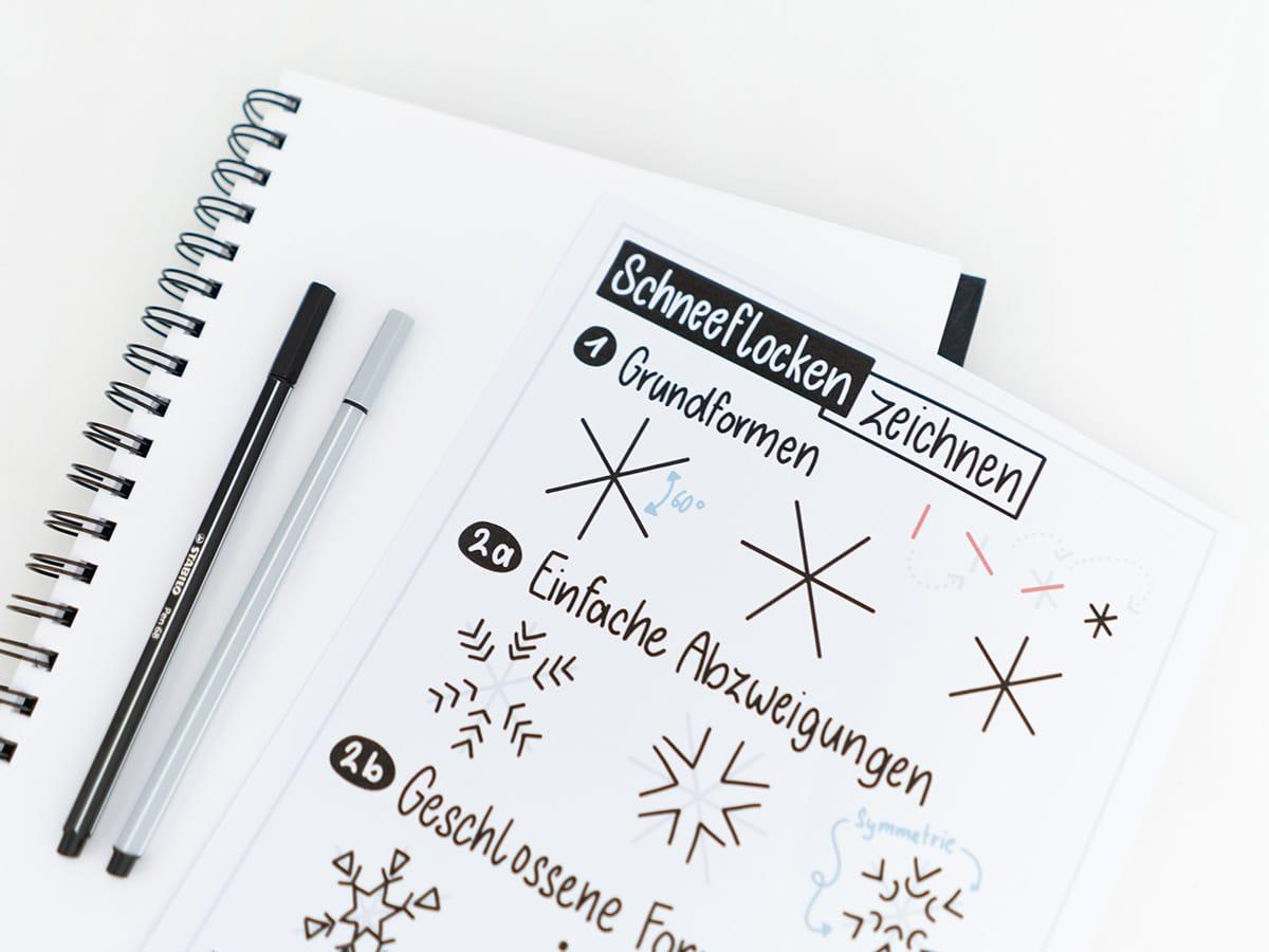 Schneeflocken zeichnen Anleitung