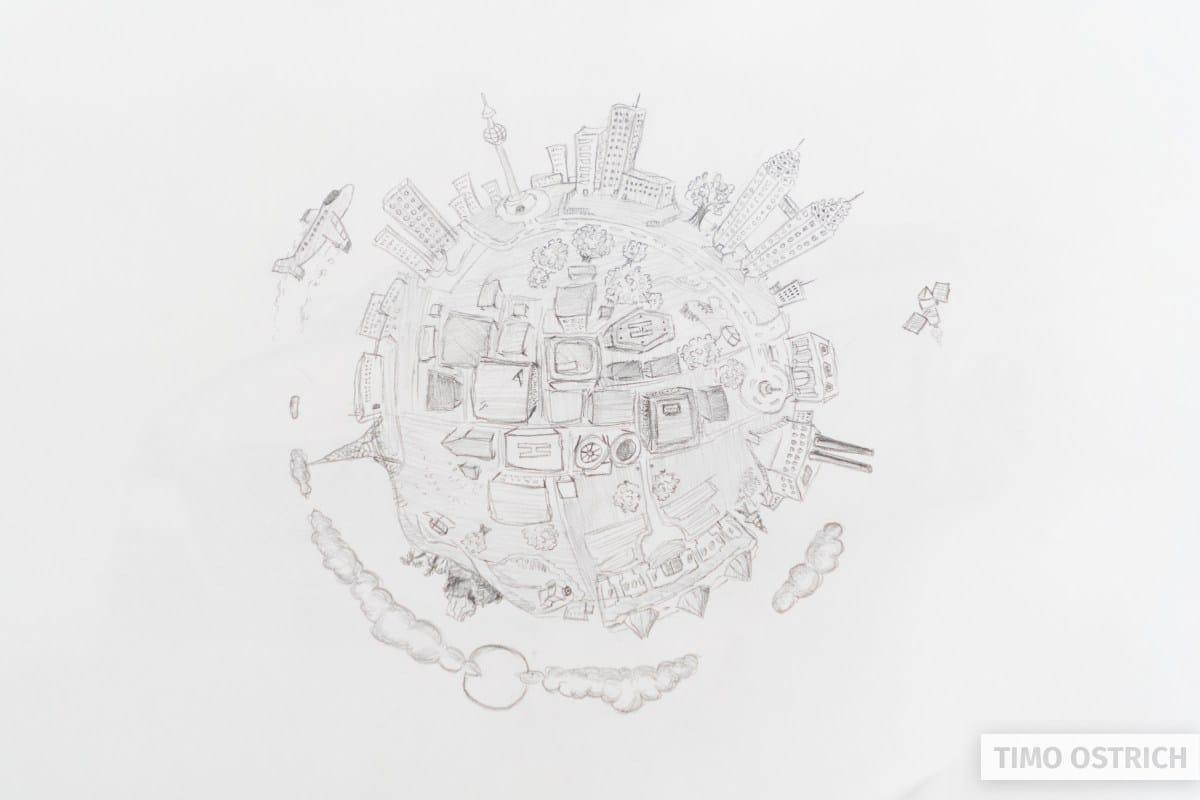 Alte Zeichnung little Planet