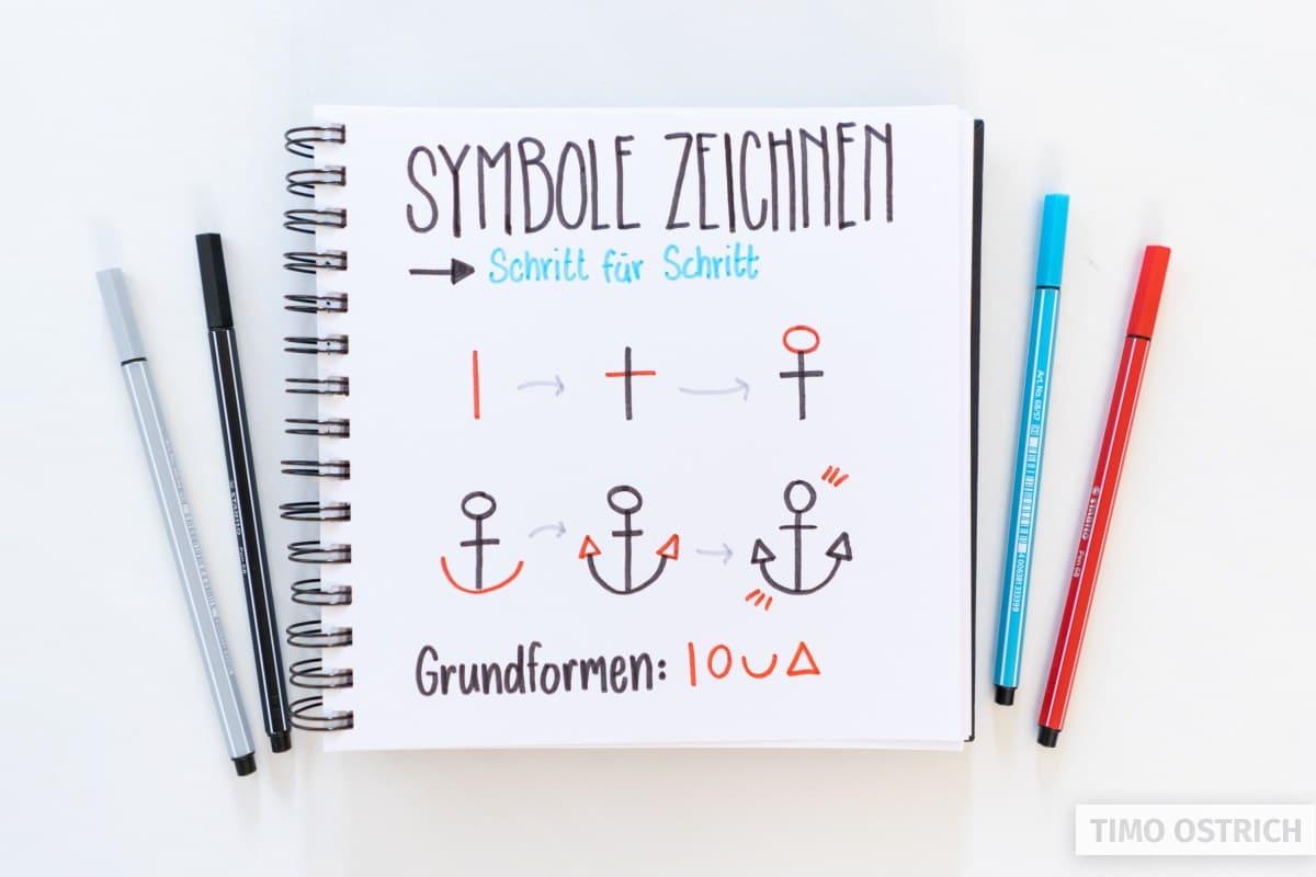 Symbole zeichnen lernen Schritt für Schritt